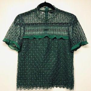 Zara women lace up top green size XS